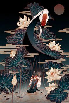 FeiFei Ruan | Digital Artist | Richard Solomon Artists representative Japan Illustration, Botanical Illustration, Japanese Artwork, Art Japonais, Japan Art, Grafik Design, Chinese Art, Chinese Painting, Aesthetic Art