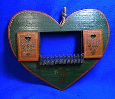 Vintage German Wood Folk Art Picture Frame as Window Heart Form #V