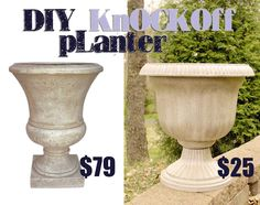 Thrifty DIY Planter Knockoff - plastic pots are from Lowe's and used stone spray paint/glaze/poly sealer Diy Concrete Planters, Urn Planters, Planters For Front Porch, Plastic Planters, Stone Planters, Square Planters, White Planters, Planter Ideas, Stone Spray Paint