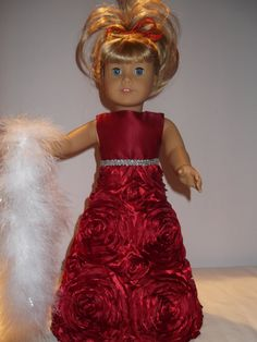 American Girl Doll Christmas Dress Red