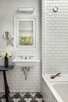 White subway tiles in bathroom