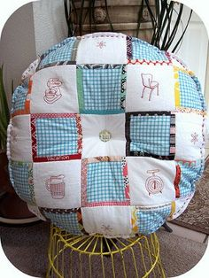 Vintage Embroidered Patchwork Cushion Pattern...so cute! Am totally making: http://sewtakeahike.typepad.com/sewtakeahike/2011/03/vintage-saral-project-and-giveaway.html