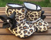 Rockabilly Baby Girl Cheetah Crib Boots With Red Bows