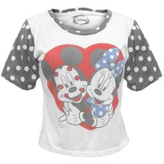 Mickey and Minnie show their love in an adorable vintage heart graphic on the front of this white juniors t-shirt from Disney, featuring a black patterned sleeves and collar with extra-wide sizing on each for added comfort. Made from a soft 50/50 cotton/polyester blend and with highly faded print for an authentic retro look and feel, this is one tee sure to get you that fuzzy, heart-aflutter feeling!