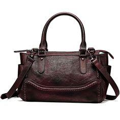 NiceEbag Women Satchel Top-handle Bag Vintage Shoulder Bag Ladies Genuine Leather  Tote Purse YKK Zipper     Continue to the product at the image link. af23750b3ef47