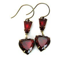 Sale Ruby Red Heart Dangle Earrings by lovelandshadetree on Etsy, $21.00