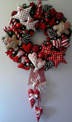 Decorative heart sewing and decorating Christmas Wreath