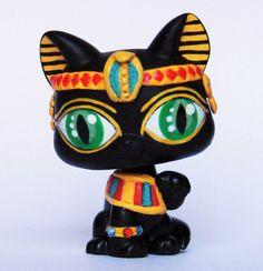 Littlest Pet Shop Black Egyptian cat OOAK custom LPS figure shorthair  green eye #Hasbro