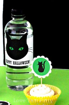 Black Cat PRINTABLE HALLOWEEN Water Bottle LABELS, Printable Halloween Cupcake Topper, Kids Halloween Party, Straw Flags, Cat Party, U Print by LoveThatPartyInvites on Etsy