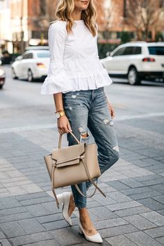 Fashion Jackson, Club Monaco White Ruffle Top, Denim Ripped Relaxed Jeans, White Block Heel Pumps, Celine Belt Bag - All About Classy Outfits, Chic Outfits, Fashion Outfits, Girl Outfits, Fashion Boots, Fashion Mode, Look Fashion, Fashion Brands, Fashion Stores