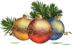 Transparent Christmas Balls with Pine Clipart