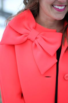 Kate Spade Bow Coat. WOW amazing coral & simple detail but a statement nevertheless