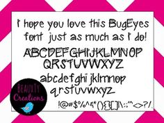 """Check out my new """"Bug Eyes"""" Font at my TPT Store - BeauxTy Creations!!"""