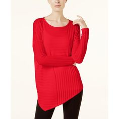 INC Asymmetrical Sweater, Created for Macy's (1.520 CZK) ❤ liked on Polyvore featuring tops, sweaters, real red, asymmetric tops, ribbed top, ribbed sweater, inc international concepts tops and asymmetrical hem top