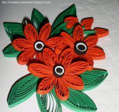 Handmade by Mihaela: Red flowers arrangement