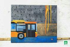 Zaplakany autobus  Akryl Podobrazie 33x27 cm.