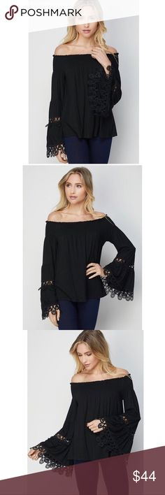 """BELLE Sleeve OTS 🆕 This is such a feminine fun & flirty top that's ready for play! Smocked neckline, off the shoulder bell sleeves. It's so soft & comfortable, loose fitting with elastic shoulder & beautiful detailing shown on the sleeves.  Measurements: S-pit 14"""" length 22"""" M-pit 15"""" length 23"""" L-pit 16"""" length 24"""" XL-pit 17"""" length 25"""" Materials: Poly & Spandex alwaysEm Tops"""