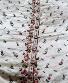 Front view of a waistcoat embroidered with leaves and flowers, 1780-90, in the Wade collection. ©National Trust