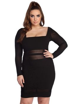 Plus Size Black Long Sleeve Bodycon Mini Dress. This plus size black bodycon dress with long sleeve and mini hemline is perfection. plus size black cocktail and party mini dresses for plus sizes Plus Size Club Dresses, Plus Size Black Dresses, Plus Size Bodycon Dresses, Plus Size Cocktail Dresses, Plus Size Gowns, Black Bodycon Dress, Plus Size Dresses, Plus Size Outfits, Windsor