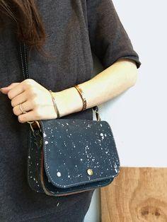 Navy Crossbody Bag- navy small crossbody leather bag- navy leather crossbody purse- speckled leather purse- enamelware leather bag