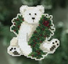 Mill Hill Holiday Polar Bear - Beaded Cross Stitch Kit. Kit includes Beads, treasures, 14 count perforated paper, magnet, floss, needles, chart and instructions