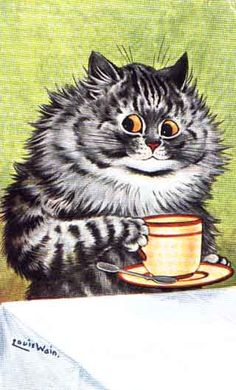 so that's how they stay up all night! kitty coffee break...vintage postcard