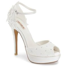 "Menbur 'Dafne' Lace & Crystal Platform Sandal, 5"" heel ($202) ❤ liked on Polyvore featuring shoes, sandals, ivory, ankle strap platform sandals, platform sandals, ankle tie sandals, high heel sandals and platform shoes"