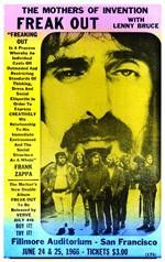 Freak out and express your creativity with this vintage Frank Zappa concert poster from the Fillmore Auditorium in San Fransisco, 1966. 14 x 22