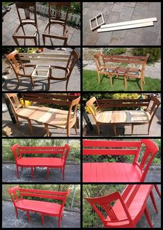 I like instructions with pictures DIY Chair Bench. I like instructions with pictures The post DIY Chair Bench. I like instructions with pictures appeared first on Garten ideen. Refurbished Furniture, Repurposed Furniture, Pallet Furniture, Furniture Projects, Furniture Making, Furniture Makeover, Wood Projects, Painted Furniture, Repurposed Doors