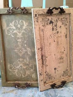 Repurposed cabinet doors into trays