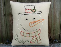 Primitive Snowman Pillow Tuck  Hand by WickedlyCreative on Etsy, $15.00