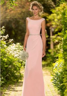 Sheath Long Chiffon Bridesmaid Dress with Beaded Waistband