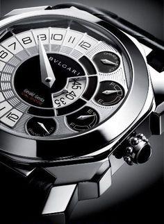 ♂ Bulgari Gerald Genta Octo Grand Sonnerie Tourbillon Watch Black & White elegance