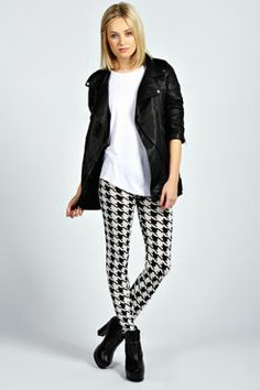 Lexie Large All Over Dogtooth Soft Touch Leggings at boohoo.com