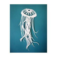 Original Papercut - Jellyfish - Ocean Sea Life - Handcut work by Sarah Trumbauer. $35.00, via Etsy.