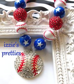 Red White Blue Baseball Chunky Necklace by Izzie's Pretties, Bubblegum Necklace, Sparkly Beaded Necklace, Patriotic Jewelry