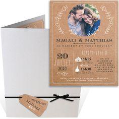 Faire part pochette mariage sur un frond kraft qui mettra en valeur votre photo de couple illustrant votre amour, ref N92037