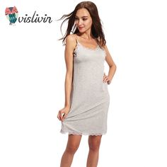 8b7d20995883 Only $12.45 , Vislivin Lady Cotton Nightgown Women Nightwear Night Dress  Female Sleeveless Nighty Sleepwear Sleep Sleepshirt Home Clothes