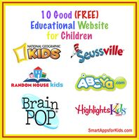 Smart Apps for Kids website which lists the best free educational sites for kids. The list includes hyperlinks to these sites as well as brief descriptions of each site. Some sites include a review. Some sites include Brain Pop, FunBrain, ABCYa, and more.