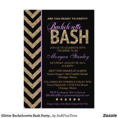 Glitter Bachelorette Bash Party Invitation PURPLE Glitzy Glam Glitter & Chevron invitation for a bachelorette party.