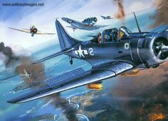 Douglas Dauntless by Roy Cross Ww2 Aircraft, Military Aircraft, Fighter Aircraft, Photo Avion, Aircraft Painting, Airplane Art, Ww2 Planes, Cross Art, Cross Paintings