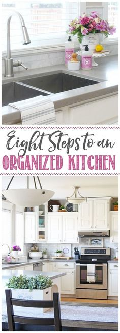 8 Simple Steps to get your kitchen decluttered and organized once and for all!  #homeorganization #kitchenorganization
