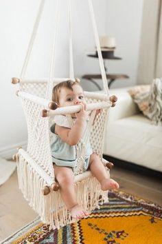Macrame baby swing handmade in Nicaragua. Cream coloured macrame baby hammock with wood detail. baby Macrame Hammock Children's Swing Chair- Handmade in Nicaragua - Adelisa & Co. Baby Hammock, Hammock Swing, Baby Swings, Bedroom Hammock, Kids Hammock, Hammocks, Baby Bedroom, Kids Bedroom, Childrens Swings