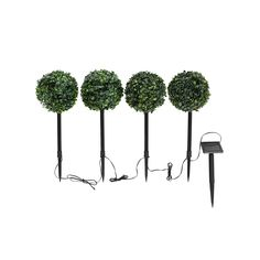 Outdoor Living, Topiary LED Solar Lights Set of 4