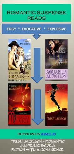 Fiction with a conscience -- Trish Jackson's romantic suspense books. Buy now on Amazon at the link below.