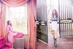 Photographed by Ellen von Unwerth, the model wears embellished dresses and gowns