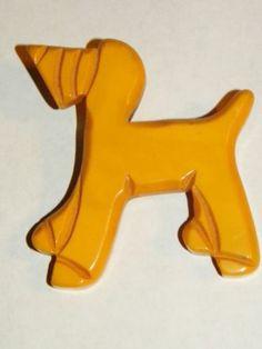Large Vintage Carved Bakelite Figural Hound Dog Brooch, Butterscotch Bakelite