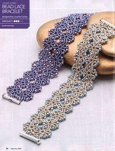 Lace Bracelet, Beaded Bracelet Patterns, Seed Bead Bracelets, Seed Bead Jewelry, Bead Jewellery, Seed Bead Tutorials, Seed Bead Patterns, Beading Tutorials, Beading Patterns