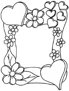 Mothers Day Coloring Pages For Toddlers Page Borders Design, Border Design, Coloring Book Pages, Coloring Sheets, Borders And Frames, Mothers Day Crafts, Digital Stamps, Doodle Art, Paper Crafts