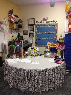 Teaching area and birthday board for Alice in Wonderland classroom.